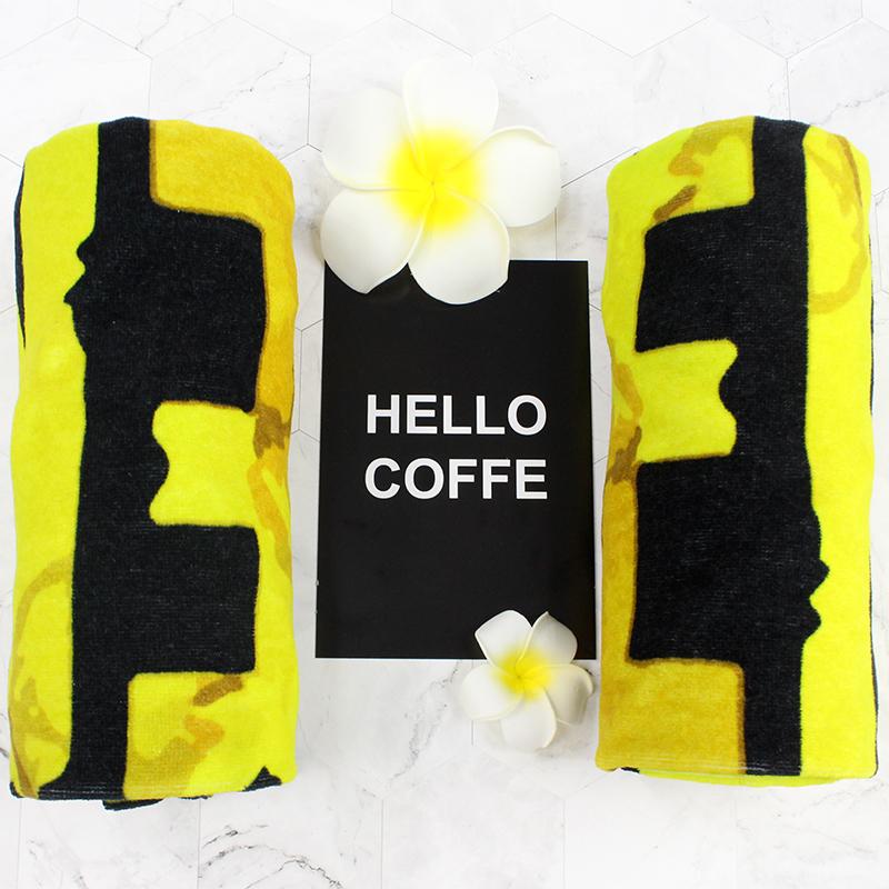 黄色字母名字应援印花运动巾纯棉毛巾定制