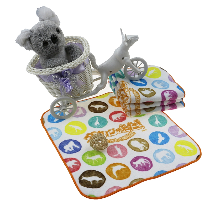 全棉动物形象定制数码印花方巾