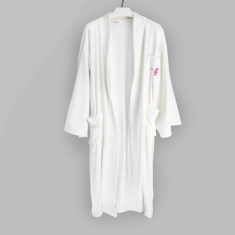 全棉白色男女情侣吸水速干浴袍
