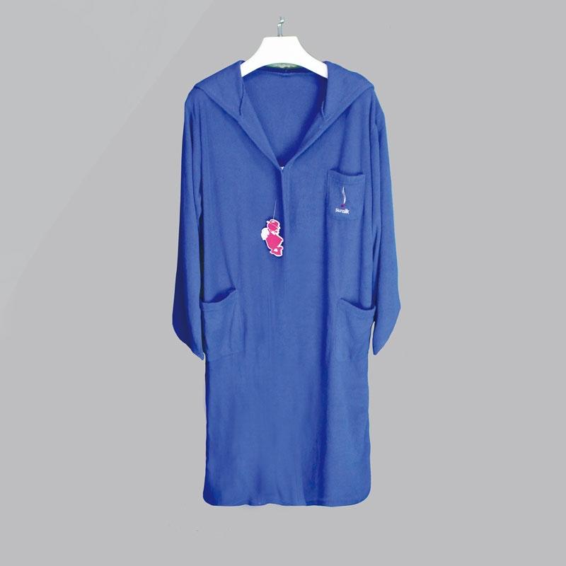 全棉蓝色绣花吸水舒适吸汗浴袍