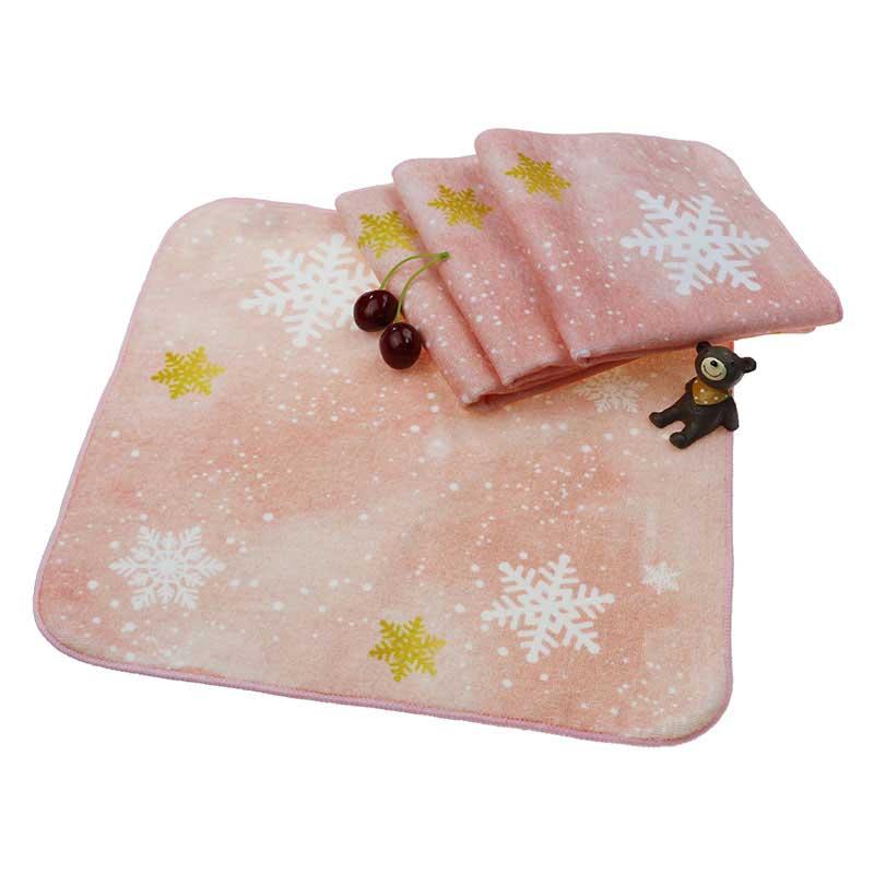 江苏圣诞雪花系全棉码印花方巾定制生产