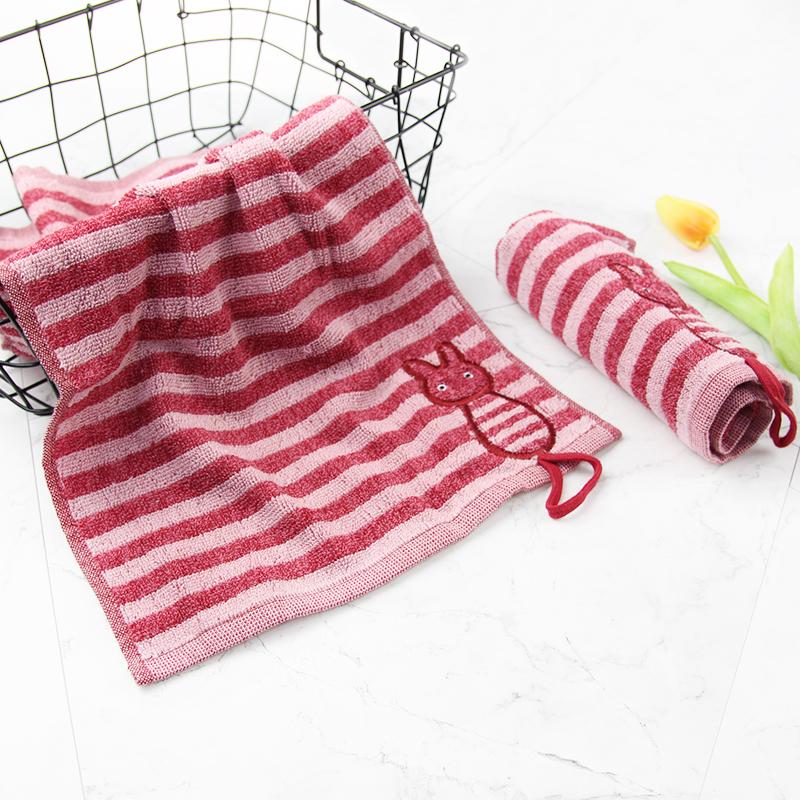 南通毛巾厂家条纹提花刺绣猫咪吸水吸汗毛巾
