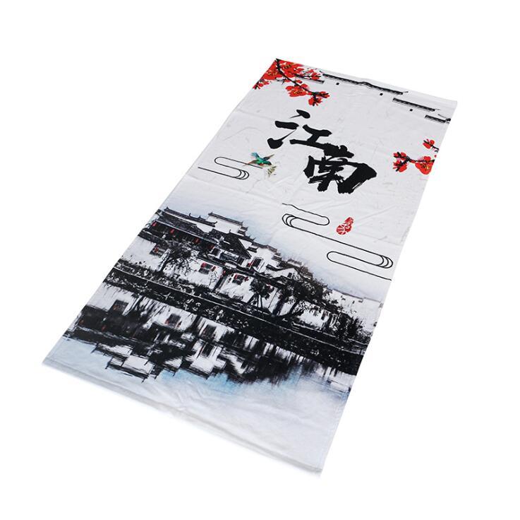 南通工厂烟雨江南定制加工棉质数码印花沙滩巾浴巾