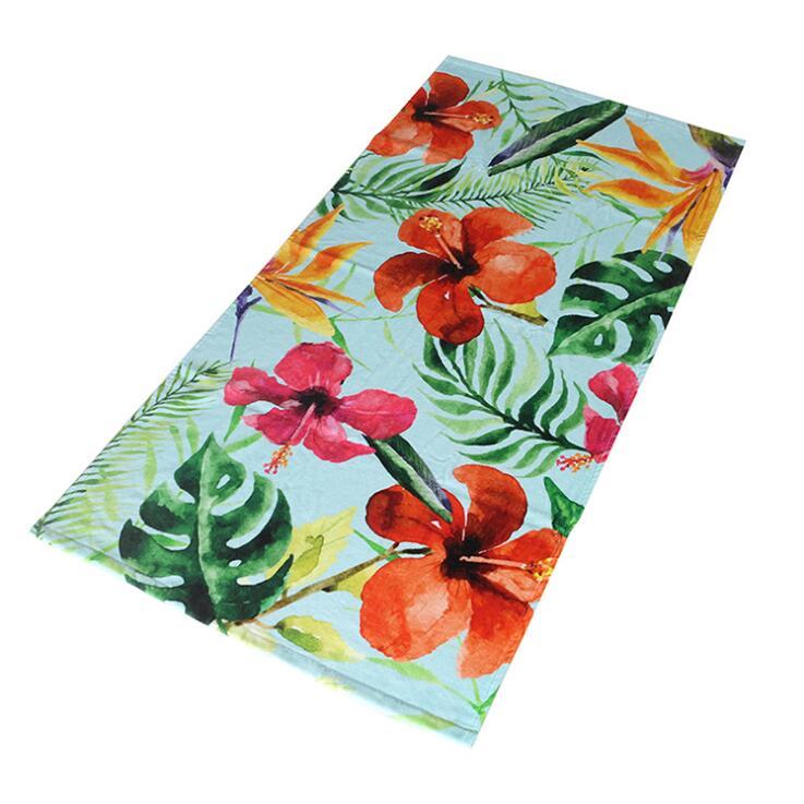 江苏毛巾工厂花朵自然加大加厚高清定制棉质数码印花浴巾