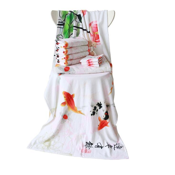 江苏南通工厂直供中国风个性化定制高清棉质数码印花浴巾
