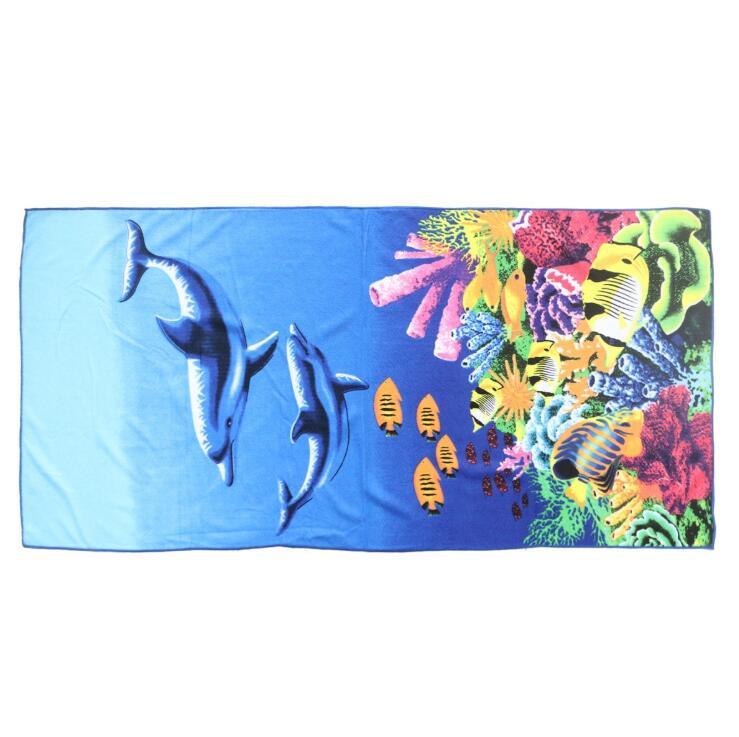 毛巾厂家直销海底世界超吸水批量定制快干印花浴巾