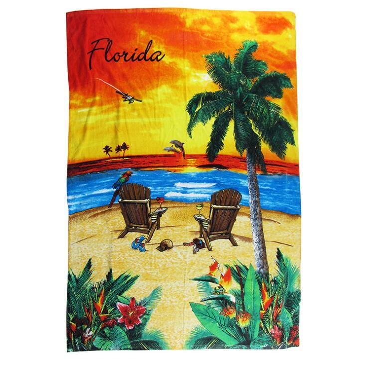 毛巾生产厂家来图定制炫彩度假日系风棉质数码印花沙滩巾大浴巾