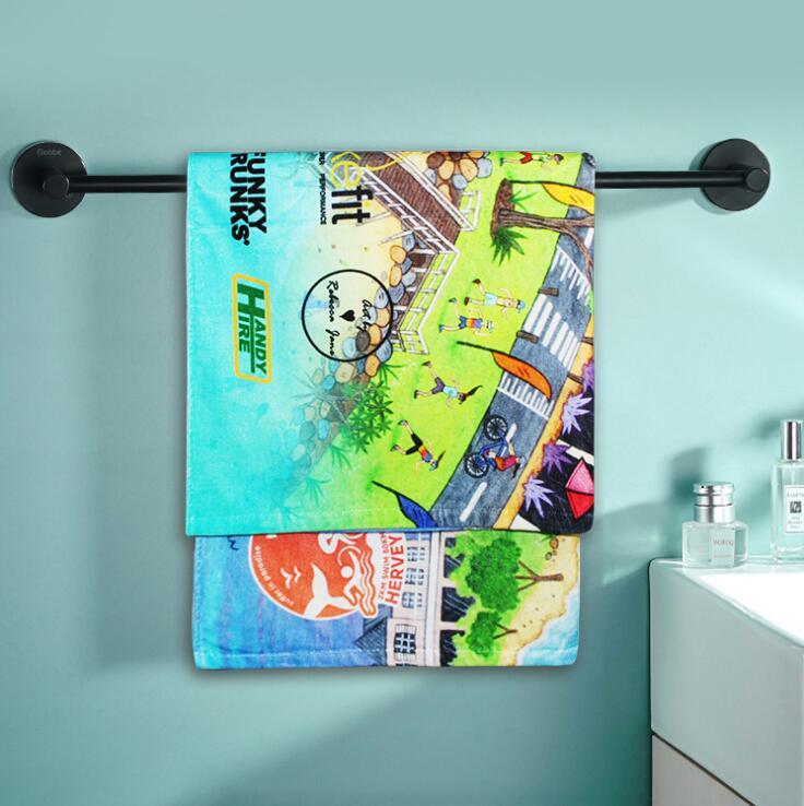 毛巾厂家定制棉质数码印花浴巾卡通动漫支持OEM来图定制