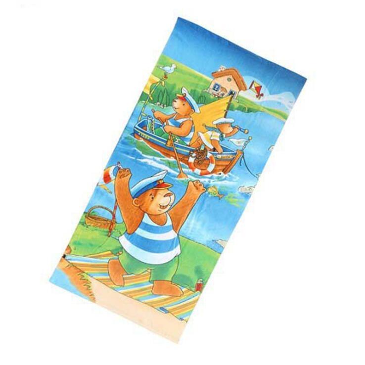 工厂直销棉质卡通图案定制数码印花浴巾