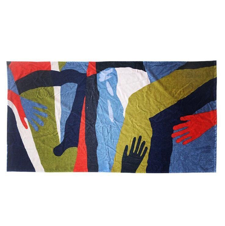 来图定制毛巾工厂直销抽象油画棉质数码印花浴巾