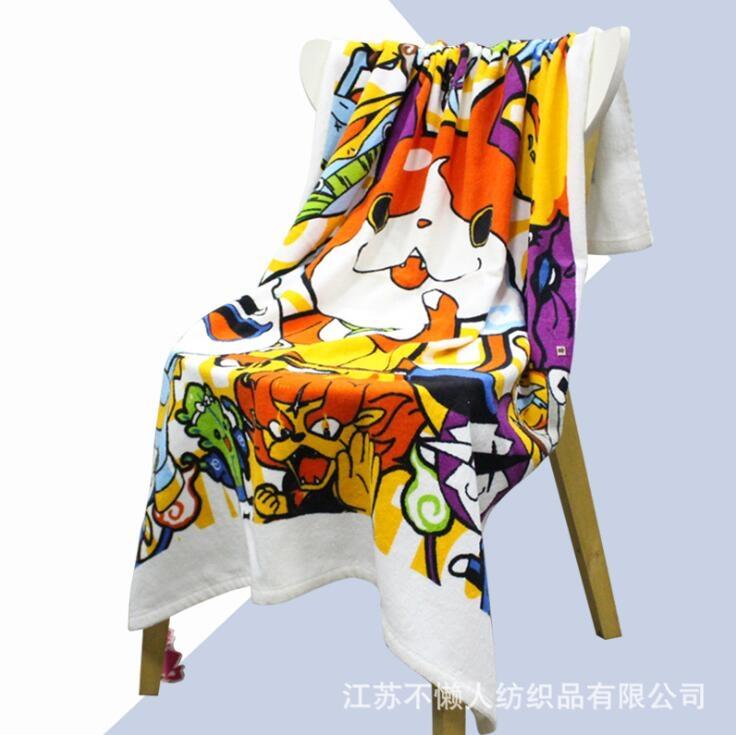 工厂直供个性化定制卡通可爱高清棉质数码印花浴巾