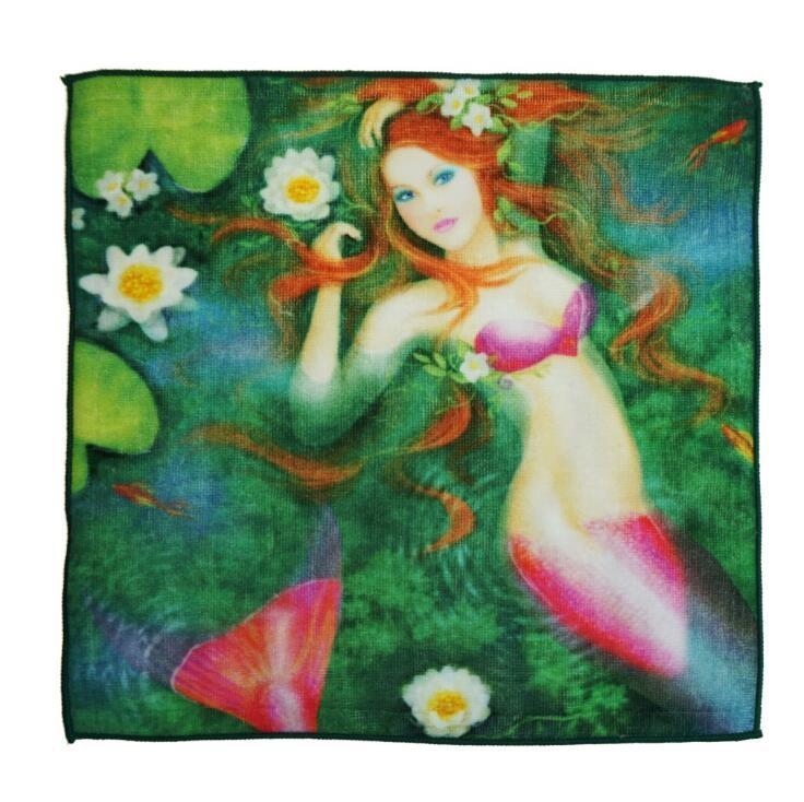 毛巾厂家卡通动漫美人鱼定制数码印花吸水方巾