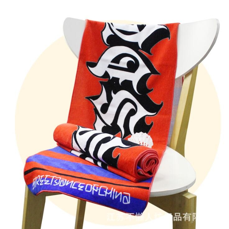 毛巾厂家定制棉质数码印花花型不限街舞运动毛巾