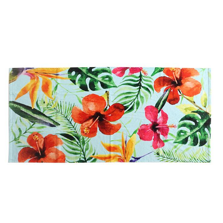 毛巾生产厂家直供植物花朵超柔定制棉质数码印花浴巾