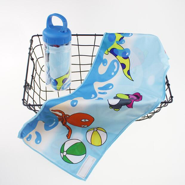 毛巾厂家订制夏季瓶装涤纶动漫印花冷感巾冰凉巾